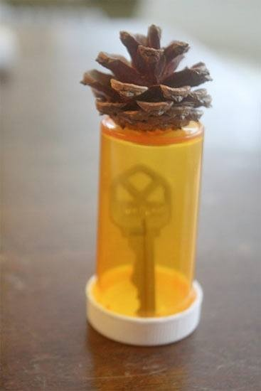 DIY Clever, Easy and GREAT re-use idea--Pine Cone Hide a Key ~~~ Using glue, a pine cone and empty pill or even film roll bottle, you can hide your key! Just glue the cone on the bottom of the bottle, dig a hole, place key in bottle, place bottle in hole, use dirt to cover bottle up to the first layer of the pine cone.