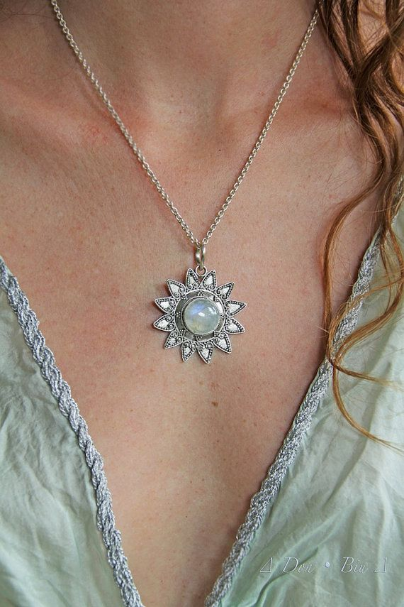 Moonstone Pendant, Moon Sterling Silver, Sun Necklace, Statement Necklace, Solid Sterling Silver, Personalized, Free Engraving,