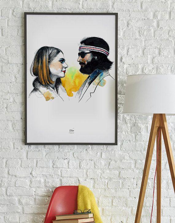 Margot & Richie Tenenbaum Poster - Wes Anderson - i Tenenbaum - Wall Art Print art film amanti Illustrazione Graphic Design Art Ilustración originale