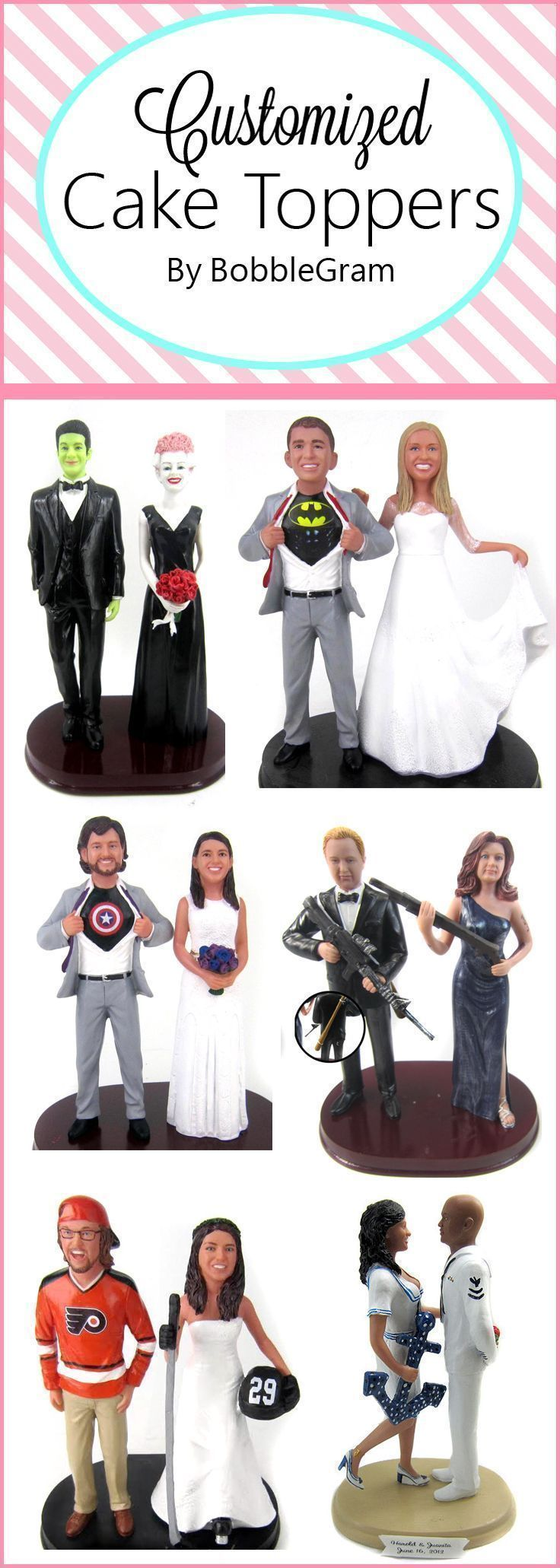 Personalized wedding cake toppers are custom sculpted to look like the bride and groom.  Why order a super boring cake topper that you'll store away in a box?  Order a customized wedding cake topper that you will display and cherish forever.