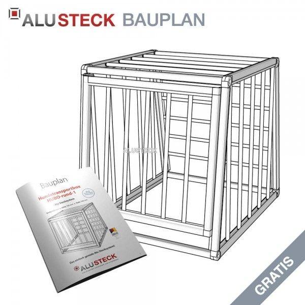 Hundetransportbox Bauplan HUBO-rund-1 » ALUSTECK® Auto Hundebox Bauplan mit Bildern, Stückliste, Anleitung » Für Heimwerker und Profis! Weitere kostenlose Konstruktions-Baupläne unter http://www.alusteck.de/konstruktions-bauplaene-kostenlos/