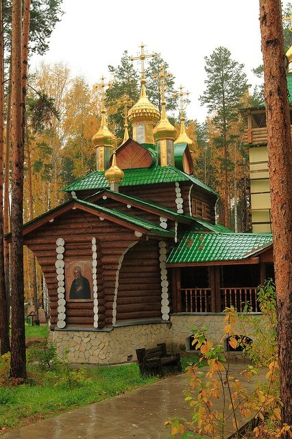 The wooden church at Ganina Jama near Yekaterinburg, Russia