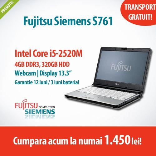 Astazi avem in oferta un laptop cool la un super pret! :)  Cumpara Fujitsu Siemens LifeBook S761, cu procesor Intel Core i5-2520M, 4GB DDR3 si 320GB HDD la numai 1.450 lei cu TVA inclus!