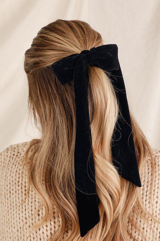 Aditi Black and Blush Pink Velvet Bow Ponytail Holder Set
