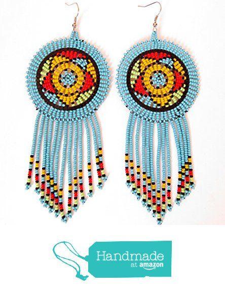 African Zulu beaded earrings - Dreamcatchers - Blue (Large) from Gone Rural - Safari Curios http://www.amazon.com/dp/B01846QPBE/ref=hnd_sw_r_pi_dp_Kz2swb1FAB70Q #handmadeatamazon