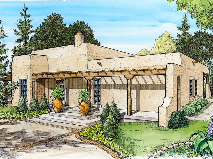 008h 0021 small adobe house plan - Adobe Style House Designs
