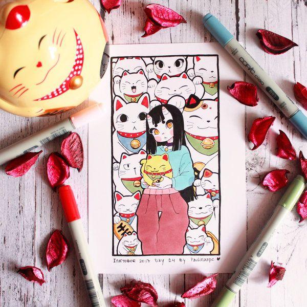 Inktober 2017 day 24 Maneki Neko and Eunbooh by Paulinaapc.deviantart.com on @DeviantArt