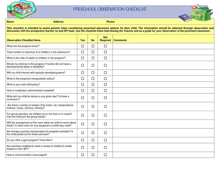 Preschool Teacher Observation Checklist
