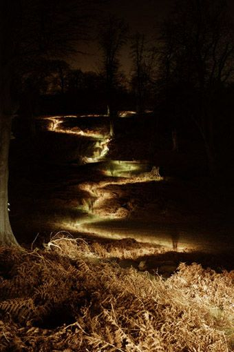 awesome long exposure picture of someone walking on a very dark night with a flashlight.
