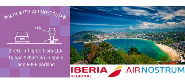 Answer the question below for your chance to win 2 return flights from LLA to San Sebastianwith Iberia Regional Air Nostrum andwe'll add Priority Parking for the duration of your trip AND P…