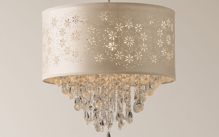 Lara Floral Beaded Cream Pendant Light at Laura Ashley