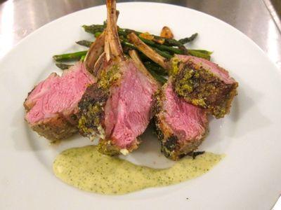 Wow, does this look good! Rosemary/Garlic/Lemon-crusted Rack of Lamb
