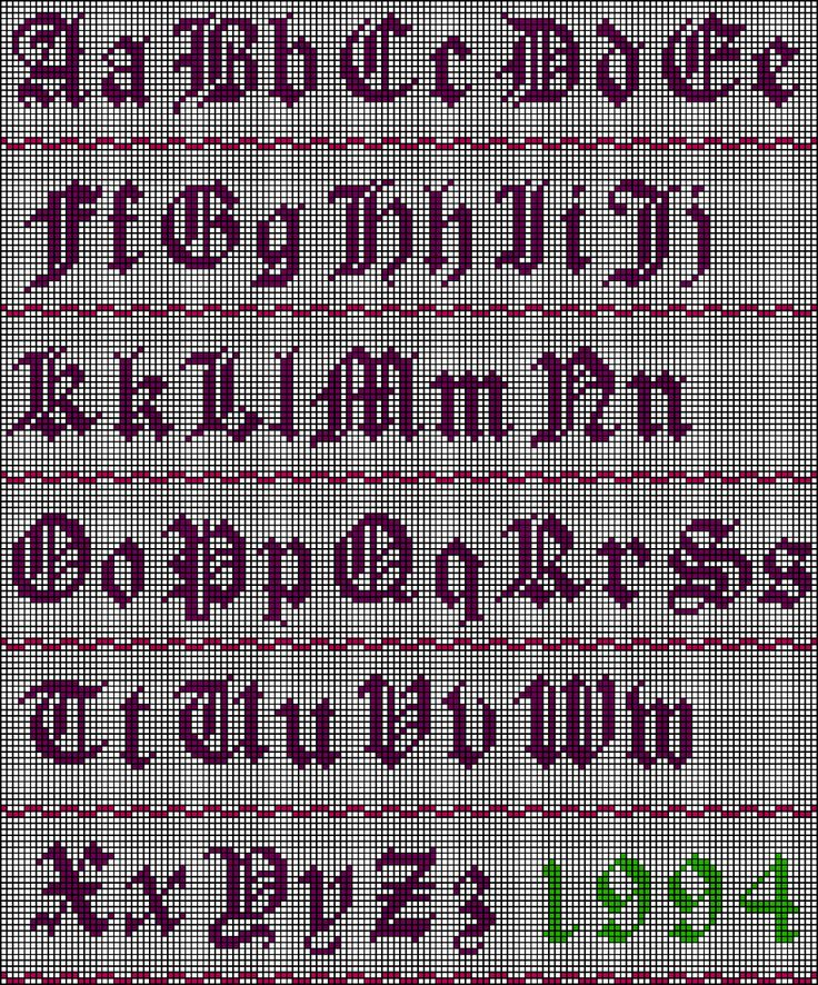 Old English Alphabet Stitch Chart