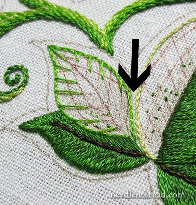 Secret Garden Embroidery: Long Short Stitch Shading on Leaves