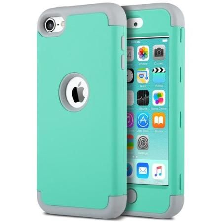 ULAK Apple iPod Touch 6 Case, iPod Touch 5 Case,ULAK? [ 3in1 Hybrid F Style] Shockproof Protective Case Cover for Apple iPod Touch 5 6th Generation_2015 Released (Green+Grey) - Walmart.com