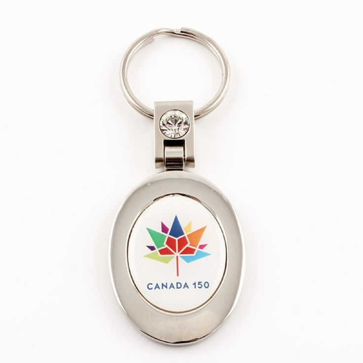 Canada 150 Oval White and Silver Keychain - Mark Canada's 150th birthday with this oval keychain with the official Canada 150 logo. The keychain swivels and the back has plenty of space for engraving. A great souvenir or keepsake.