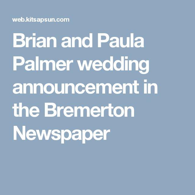 Brian and Paula Palmer wedding announcement in the Bremerton Newspaper