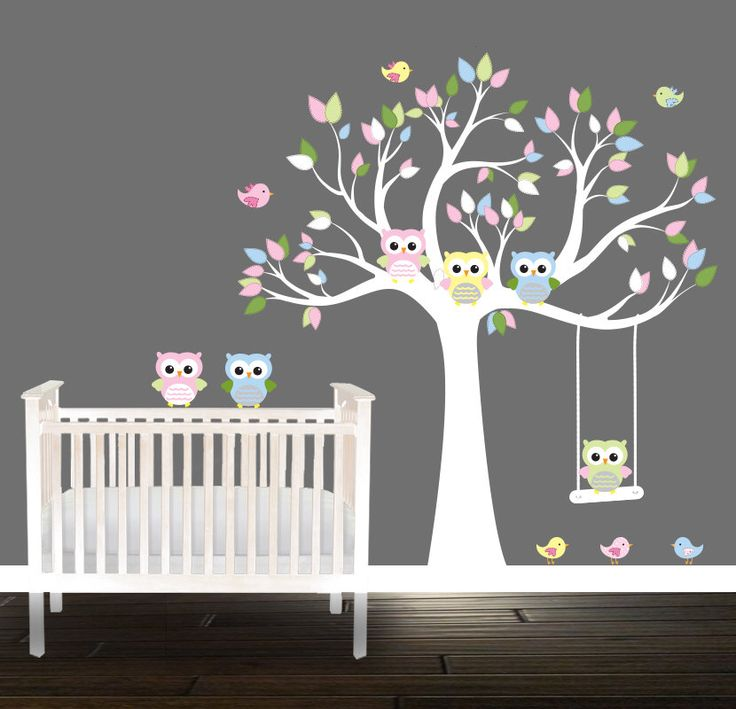 Kids Owl Owl Tree Decal Swing Birds Owls Nursery Tree decal unisex pastel by BeautifulWalls on Etsy https://www.etsy.com/listing/204604975/kids-owl-owl-tree-decal-swing-birds-owls