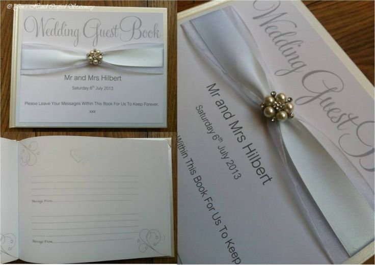 White with diamanté and peal embellishment Wedding Guest Book  www.jenshandcraftedstationery.co.uk www.facebook.com/jenshandcraftedstationery