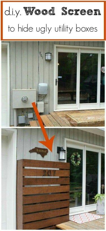 Diy Wood Screen To Hide Utility Boxes Diy Wood Screens