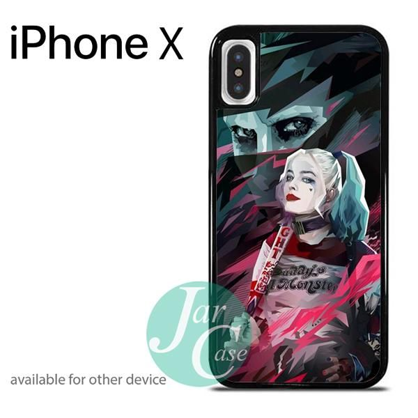 Harley Quenn and Joker in Abstruct Art Y Phone case for iPhone X