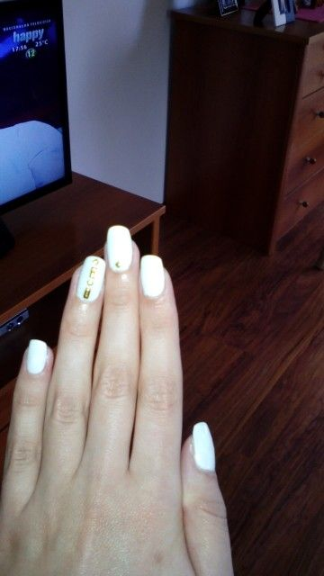 White Nails Gold Strass