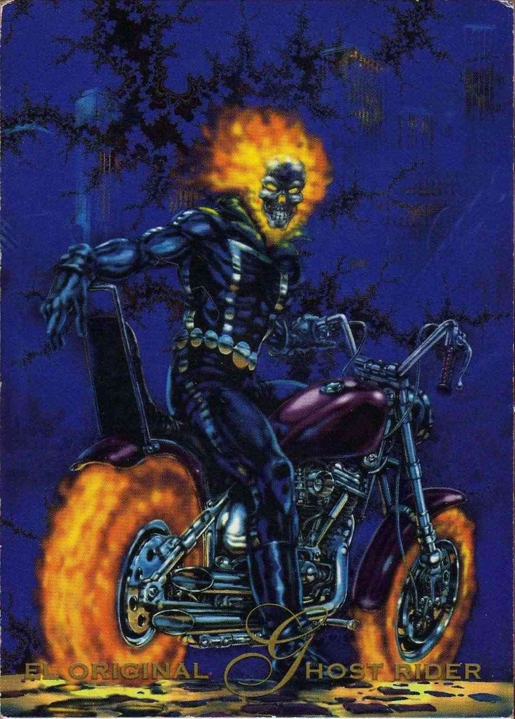 El Origen de Ghost Rider-Pepsi Cards  Jhonny Blaze era un acróbata que vendió su alma al demonio Mephisto a cambio de la vida de Crash Simpson, pero Mephisto engaño a Johnny y Crash murió en un accidente de motocicleta. Como pago, Mephisto transformo a Johnny en un esqueleto ardiente…Ghost Rider. Solo la inocencia de la novia, Roxanne Simpson, salvo el alma de Johnny.
