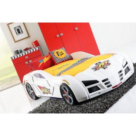 Livraison rapide - Une véritable voiture de course, avec des roues et une belle finition blanche laquée! Fabriqué dans du bois massif, ce lit en plus d'être...
