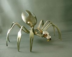 dragonflies made out of silverware | silverware by bridget.r.stokes