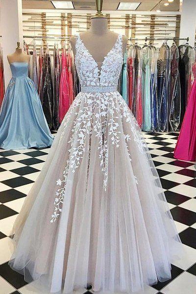 Light Champagne V Neck A Line Long Lace Appliqués Bridal Dress Formal Prom Dress With Sequins Sash G9511