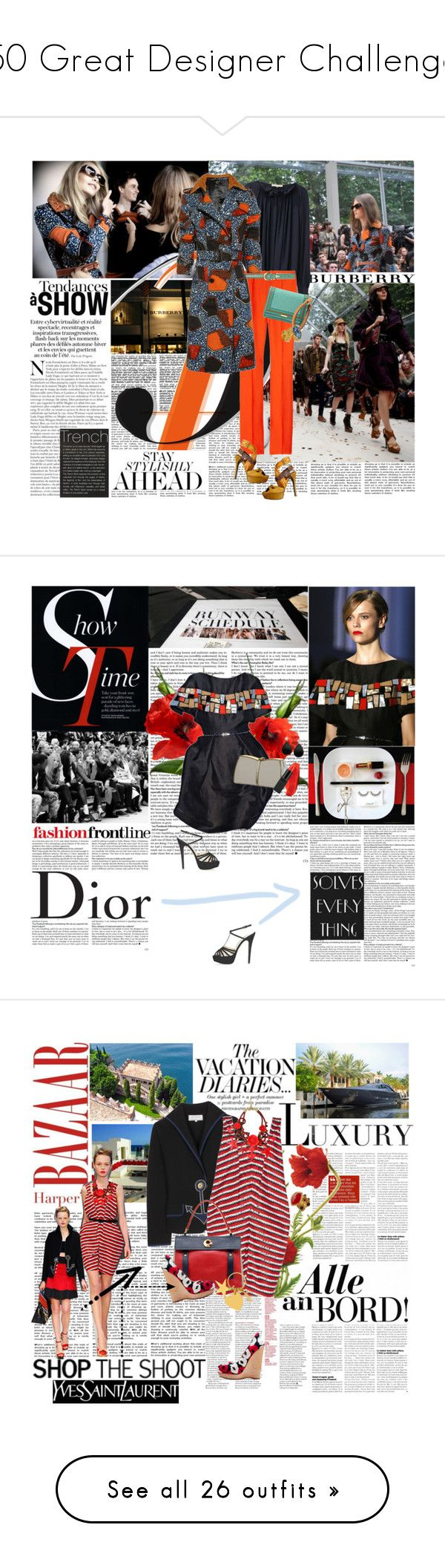 """""""50 Great Designer Challenge"""" by girlygirl ❤ liked on Polyvore featuring Burberry, Vanessa Bruno, Vionnet, Dorothy Perkins, Yves Saint Laurent, Assouline Publishing, trench coats, clutches, burberry and Christian Dior"""