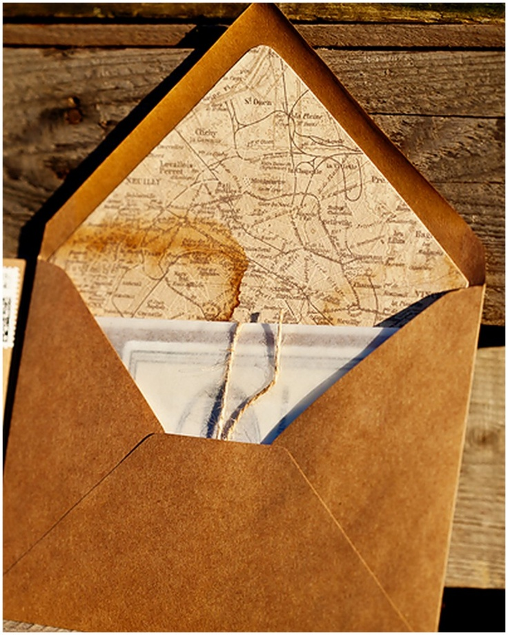 coffee stained french map envelope liner  - wedding invitation