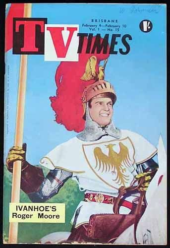 "TV TIMES MAGAZINE-Roger Moore Ivanhoe 1961 Issued for the weekly TV programmes in Brisbane, Queensland and the covers featured photos of the most popular TV shows of the era. It is interesting to see that the programme on some stations for 1961 at 12.00 in the afternoon was for ""Test Pattern and Music"" until the main programming commenced later that day. How times have changed."