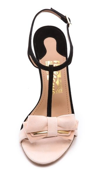 Salvatore Ferragamo Pavi T Strap Bow Sandals - Oh My! Would you look at these sandals? Pink, check, neat little bow,check and some black and gold in the mix, check, CHECK! <3