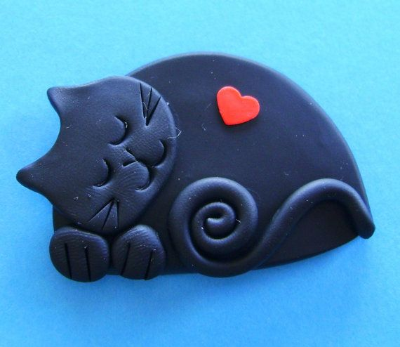 Polymer Clay Happy Black Cat sleeping with red heart brooch pin or magnet via Etsy