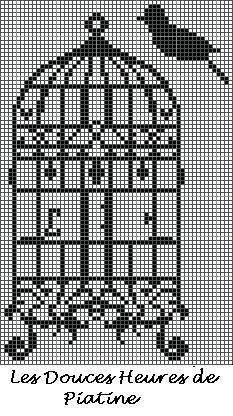Baroque Bird Cage by The Workshop Piatine free cross stitch chart on Atellier de Piantine at http://atelierdepiatine.canalblog.com/albums/mes_grilles_gratuites/photos/85560667-grille_cage_oiseau_baroque.html