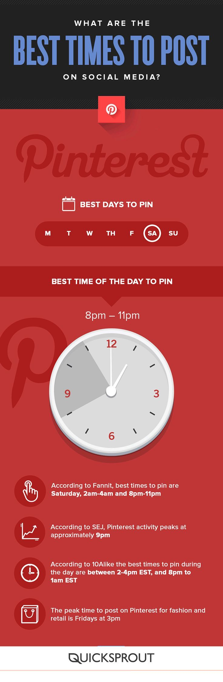 Marketing on Pinterest? These best times to pin might work for your business - or not. Click to blog to learn how to find YOUR best times to pin! Grow your Pinterest followers and website traffic when you time your pins right. #pinteresttips #smmtips