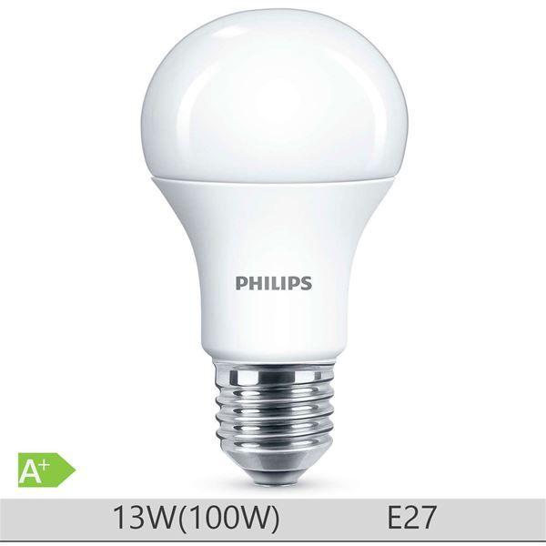 Bec LED Philips 13W E27 forma clasica A60, lumina calda http://www.etbm.ro/becuri-led