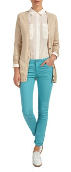 Jack Wills. i love the sheer blouse and cardigan look. and the bright trousers! this is gorge.