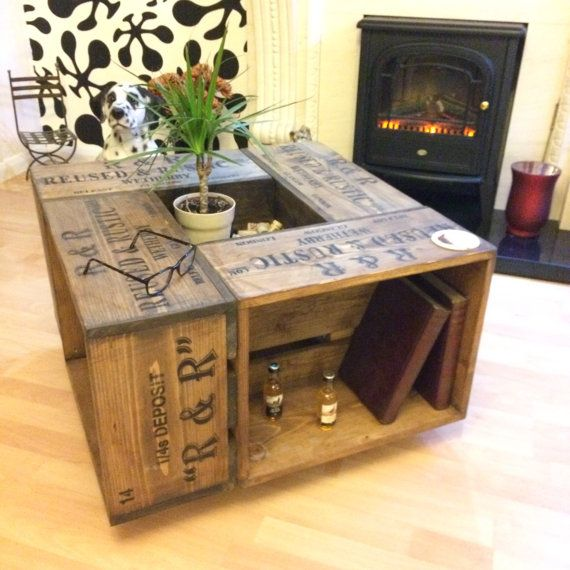 Rustic Crate Coffee Table On Wheel Casters. Farmhouse