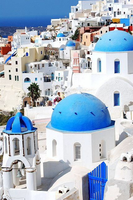 Santorini, Greece. It is so breathtaking, but when I was there our camera was stolen and I lost all my amazing pictures!!!