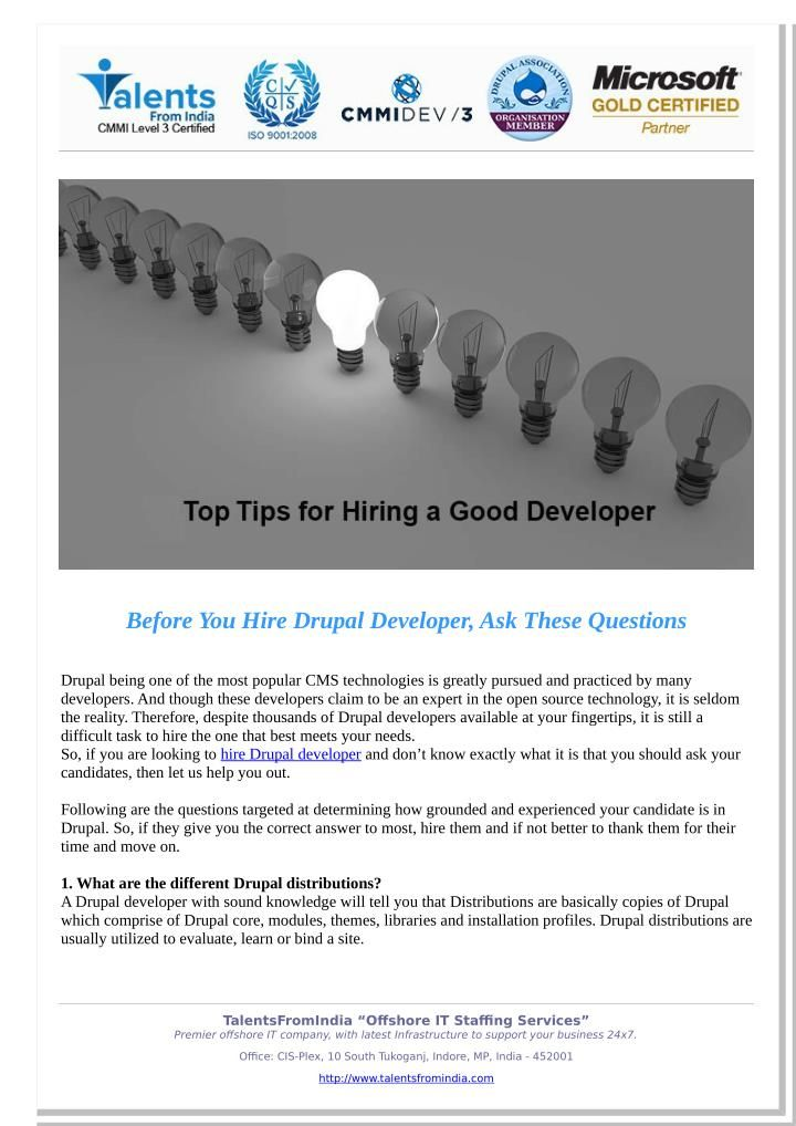 Before You Hire Drupal Developer, Ask These Questions @SlideServe