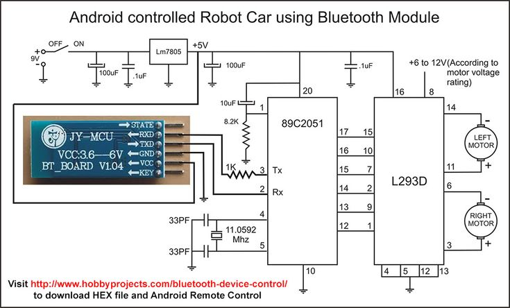 Simple Android Bluetooth Remote Control Project for Robot/Robo Car using 8051/89c2051 Microcontroller and HC-05 Bluetooth Module