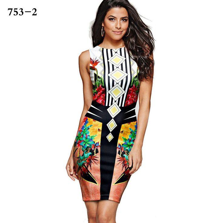 3D Floral Print Scoop Short Bodycon Dress