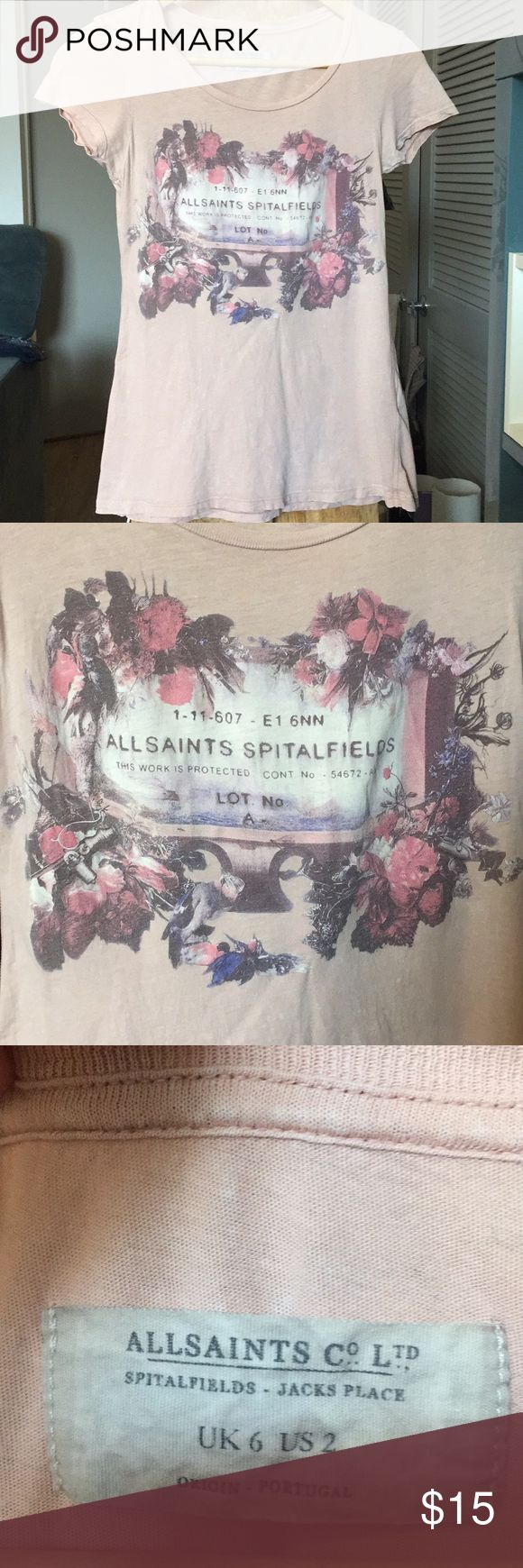 Allsaints pink distressed graphic T-shirt Size 2 Purchased at the Seattle branch on sale a few years ago. The design is meant to look distressed, there are faint white marks all over the shirt that's meant to be part of the design. Really awesome find from Allsaints older line! All Saints Tops Tees - Short Sleeve
