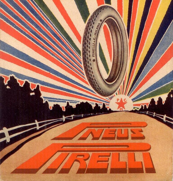 1916 ad for Pirelli tires.