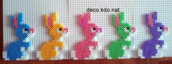 Colorful Easter bunnies hama perler beads by Deco.Kdo.Nat