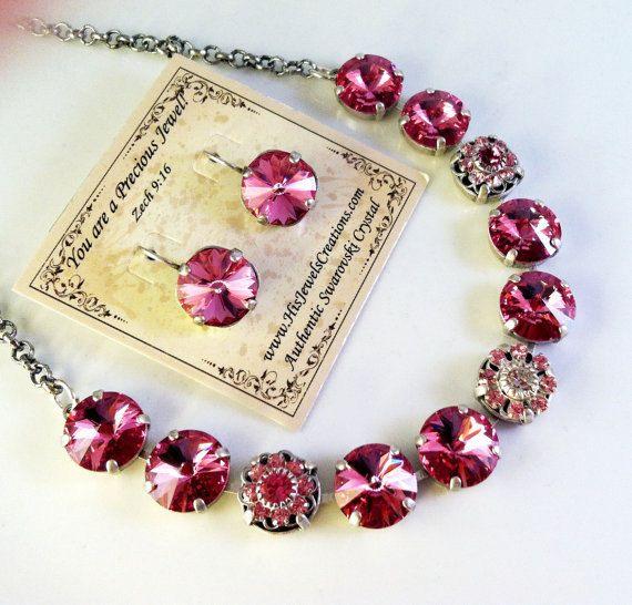 New Swarovski Rivoli Pink Rose/Light Rose by HisJewelsCreations, $54.00