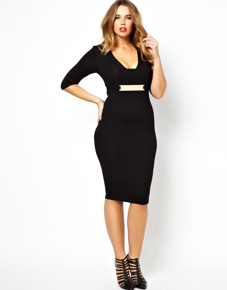 ASOS CURVE Exclusive Body-Conscious Midi Dress With Gold Belt http://asos.to/1gO0IIQ