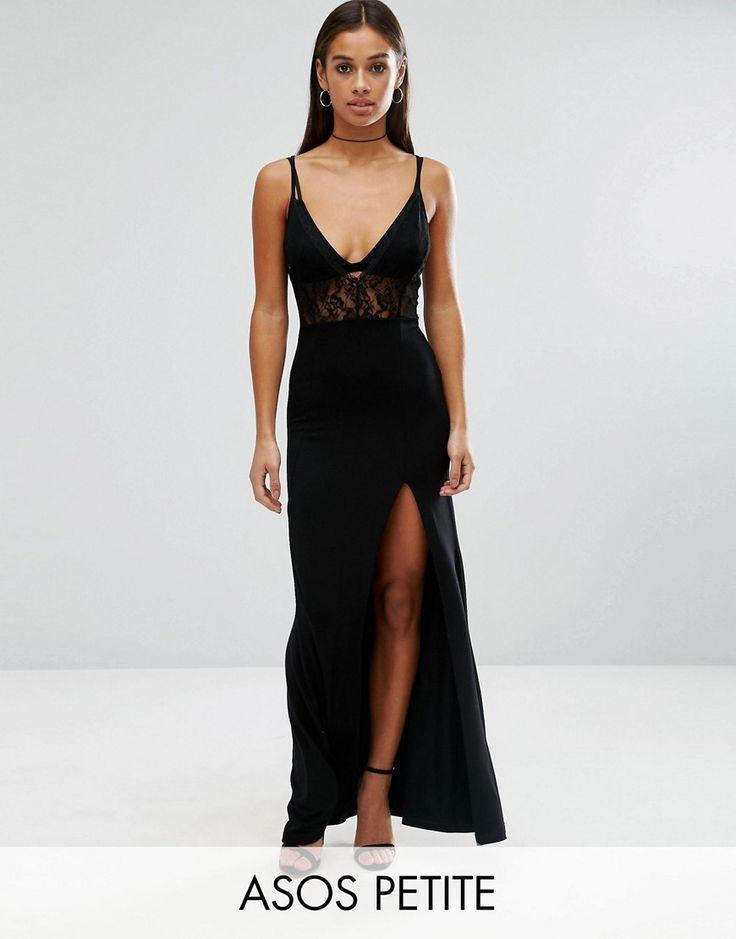 ASOS PETITE Lingerie Lace Top Maxi Dress - Black